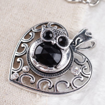 20MM Owl snap Antique Silver Plated with black  rhinestone KB8076 snaps jewelry
