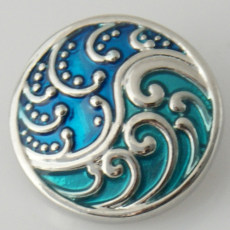 20MM Pattern snap Silver Plated with blue Enamel KB6070 snaps jewelry