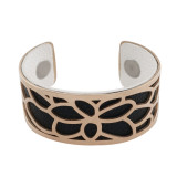 Stainless Steel Bangle Rose Gold with real leather black/white double side TA7021