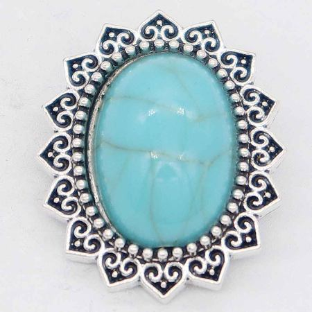 20MM design snap Silver Plated avec cyan Turquoise KC6868 snaps jewelry