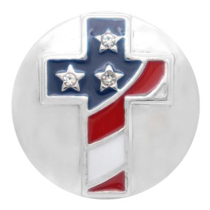 20MM Cross American flag snap silver Plated with  Rhinestone KC7744 snaps jewerly