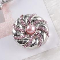 20MM Bouton pression rond Plaqué argent avec strass roses et perles KC6094 s'encliquette