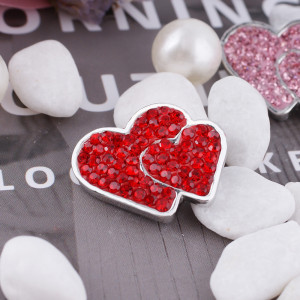 20mm valentine loveheart s'enclenche avec des bijoux en strass rouge KC4014