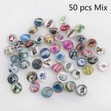 Botones a presión de vidrio 50pcs / lot MixMix todos los estilos Botones a presión 20MM Estilo MIX para joyería de broches al azar