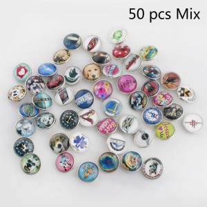 50pcs/lot glass snap buttons MixMix all styles 20MM Snap buttons MIX style for random Snaps Jewelry