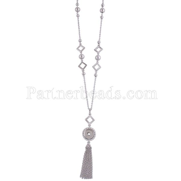 80CM High Quality necklace with one buttons and Pendants KC0980 fit 18mm&20mm chunks snaps jewelry