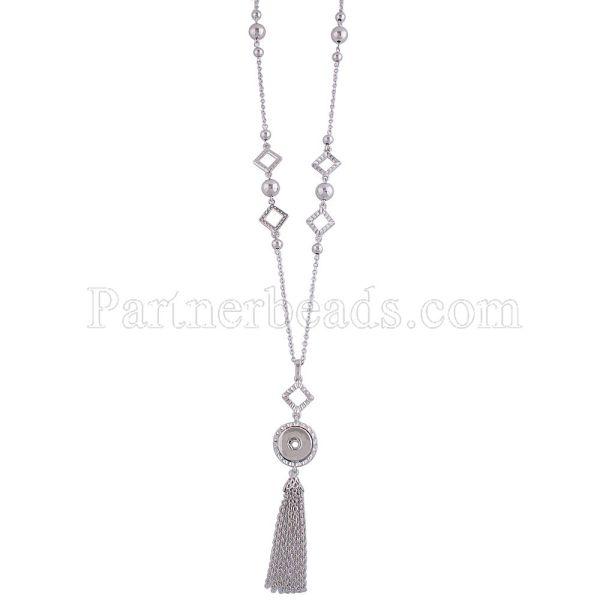 80CM Collier de haute qualité avec un bouton et un pendentif KC0980 fit pour 18mm & 20mm chunks snaps jewelry