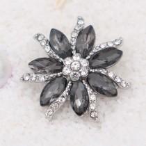 20MM Flowers snap Plateado con gris Rhinestone de alta calidad KC7933 broches de joyería