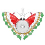 snap sliver Pendant with Rhinestone and enamel fit 20MM snaps style jewelry KC0441