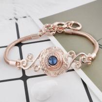 12MM round Rose Gold Plated with Dark blue rhinestone KS6283-S snaps jewelry