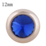 12MM bouton pression rond en or rose avec strass bleu KS9685-S s'enclenche les bijoux