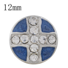 12MM cross sliver Plated with  rhinestone and blue enamel KS6330-S Diameter
