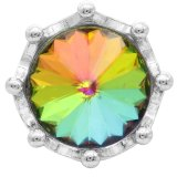Broche de corona 20MM plateado con diamantes de imitación de colores KC6815 broches de joyería