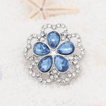 Diseño 20MM chapado en plata con diamantes de imitación azul KC7930 broches de joyería
