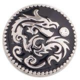 20MM Elementos chinos-dragón chapado en plata con diamantes de imitación y esmalte negro KC5467 broches de joyería