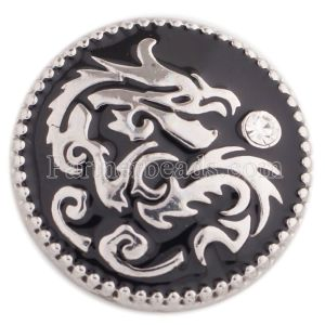 20MM Chinese elements-dragon snap silver plated with  Rhinestone and black Enamel KC5467 snaps jewelry