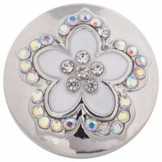 20MM flower snap Silver Plated with white Enamel KC8598 snaps jewelry
