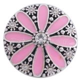 20MM flower snap Silver Plated with pink Enamel KC8627 snaps jewelry