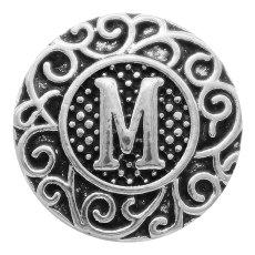 C20MM英語アルファベット-MスナップアンティークシルバーKC6757スナップジュエラー