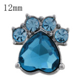 12MM Dog claws snap with light blue Rhinestone KS5182-S interchangeable snaps jewelry