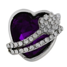 18MM heart snap Silver Plated with purple Rhinestone KC6479 snaps jewelry