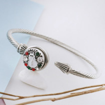 12MM Christmas snap sliver Plated with red rhinestone and enamel KS8098-S snap jewelry