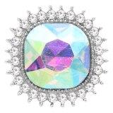 Diseño 20MM chapado en plata con diamantes de imitación coloridos KC6772 broches de joyería