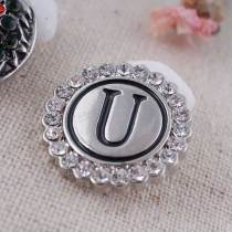 20MM English alphabet-U snap Antique silver  plated with  Rhinestones KC8550 snaps jewelry