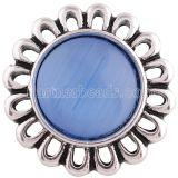 Broche de flores 20MM Plateado plata antigua con joyería de broches KC7119 de ópalo azul