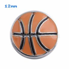 12mm Basketball snaps Silver Plated with orange Enamel KS5052-S snap jewelry