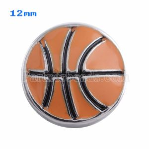 Broches de baloncesto 12mm Plateados con esmalte naranja Joyas a presión KS5052-S