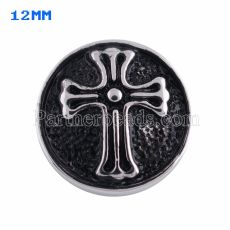 12mm cross snaps Silver Plated with black enamel KS5057-S snap jewelry