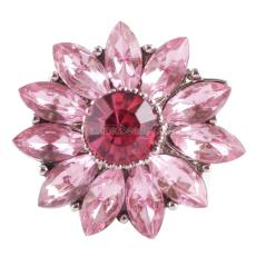 20MM Gear snap Silver Plated with Pink rhinestone KC9813 snap jewelry