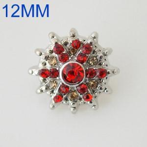 Broches de flores 12mm plateados con diamantes de imitación rojos KB6543-S joyería rápida