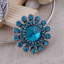 20MM flower snap  Antique Silver Plated with light blue rhinestone KC7163 snaps jewelrysnaps