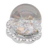 25MM Brillante Opal esférico blanco Amber snap Plateado con diamantes de imitación KC7969 broches de joyería
