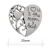 20MM coeur grande taille pression argent plaqué KC9870 snap bijoux
