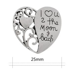 20MM corazón tamaño grande snap Joyería plateada de plata KC9870 snap