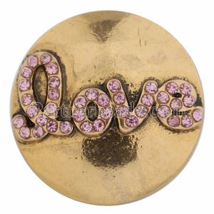 20MM valentine love snap Gold Plated with pink rhinestones KC8607 snaps jewelry
