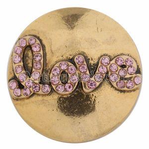 20MM Valentine Love Snap Gold Plated mit rosa Strass KC8607 Snaps Schmuck