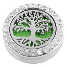 22mm white alloy Life Tree Aromatherapy/Essential Oil Diffuser Perfume Locket snap with 1pc 15mm  discs as gift