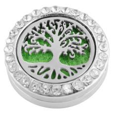 22mm alliage blanc Life Tree Aromatherapy / Diffuseur d'huile de parfum Diffuseur de médaillon à pression avec disques 1pc 15mm en cadeau
