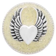 20MM Snap aile argenté avec émail jaune KC6950 snaps bijoux
