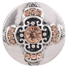 20MM Cross snap silver Plated with orange Rhinestones KC7351 snaps jewelry