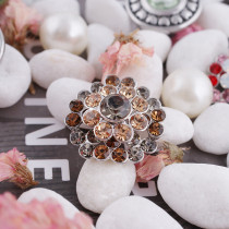 20MM Flower snap silver plated KC5013  with brown Rhinestone interchangeable snaps jewelry