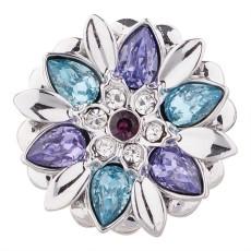 Bouton design 20MM plaqué argent avec strass violet KC5501 s'encliquette bijoux