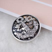 20MM Анкерная защелка Античное серебро, покрытое белыми стразами KC6111 защелкивается ювелирные изделия