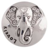 20MM Elephant snap silver plated with white Rhinestone KC5420 snaps jewelry