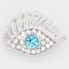 20MM eye snap Silver Plated with blue rhinestone KC6878 snaps jewelry