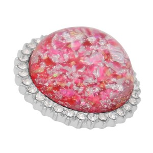 25MM Hand-made Thick glossy round  Amber snap Silver Plated with Rhinestone KC7949 Rose-red